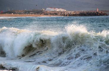 Big waves of Atlantic ocean, Nazare, Portugal