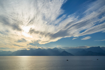 Mountain, sea and sky background