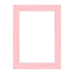 Pink wood picture frame on white background