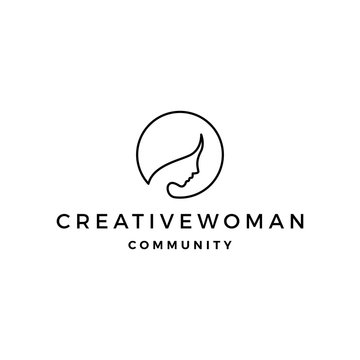 woman logo vector icon illustration line outline monoline