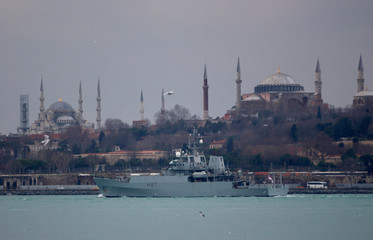 HMS Echo (H87), a reconnaissance ship of the British Royal Navy, departs from the port in Istanbul