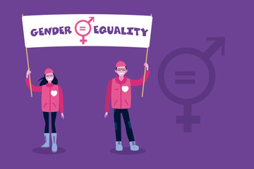 A woman and a man raising a banner with the sign of gender equality