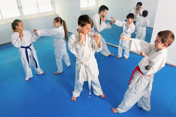Teenagers practicing new karate moves in pairs in class