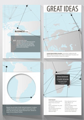 The vector illustration of the editable layout of four A4 format covers with the circle design templates for brochure, magazine, flyer. Futuristic high tech background, dig data technology concept.