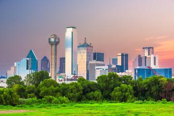 Fototapete - Dallas, Texas, USA downtown city skyline at dusk.
