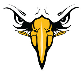Eagles Face with Eyes and Beak is an illustration of an eagle. It is a close up of the face and would be great used for school mascots in t-shirt designs or other promotional items.