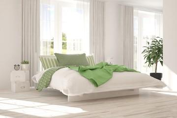 White bedroom with summer landscape in window. Scandinavian interior design. 3D illustration