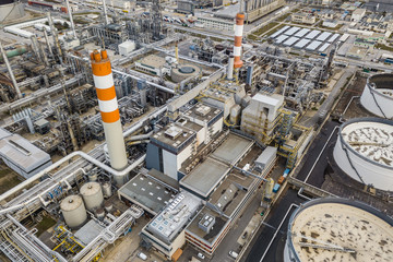 Aerial drone view of huge oil refinery