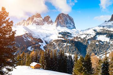 Ski resort in winter Dolomite Alps. Val Di Fassa, Italy.