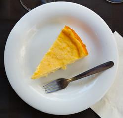 Slice of homemade cheesecake