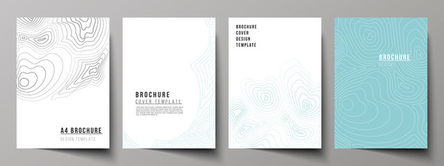 The vector layout of A4 format modern cover mockups design templates for brochure, magazine, flyer, booklet, annual report. Topographic contour map, abstract monochrome background.