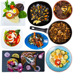 Collage of dishes isolated on white