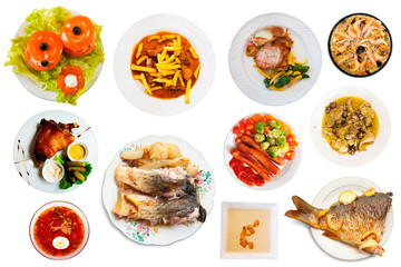 Set of many plates with food over white background