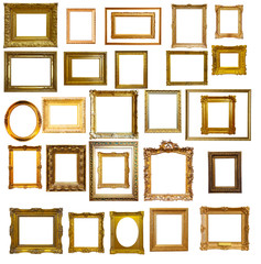Set of many gold picture frames