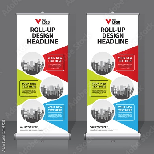 Roll Up Banner Design Template Vertical Abstract Background Pull Modern X Rectangle Size