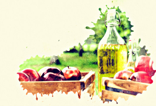 Abstract close-up Red apple and apple oil on wood table on watercolor illustration painting background.