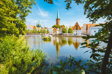 Historic city of Lübeck with Trave river in summer, Schleswig-Holstein, Germany