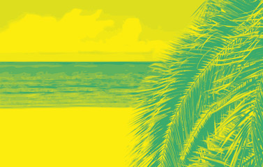 Beach background with palm tree. Duotone art style. Color vector illustration