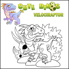 Cartoon cute prehistoric dinosaur velociraptor, funny illustration