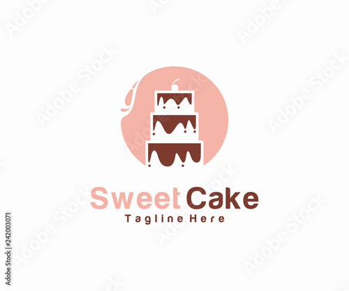Sweet Cake Logo Design Concept Cake Logo Template Stock Image And