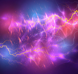 Vector bright lightning on a dark colored background.