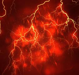 A bright lightning in the dark sky. Vector image