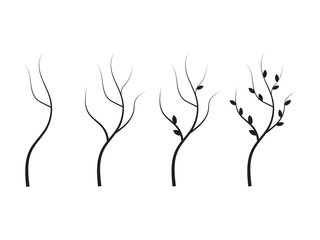 Tree branches silhouette. Set of branch tree vector illustration
