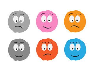 Cartoon fluffy ball vector. Monsters emotion ball