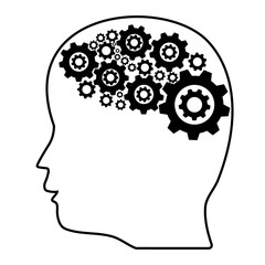 People education concept. Silhouette Template with men head and gears in brain