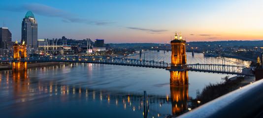 Sunrise Over the Roebling Suspension Bridge Connecting Cincinnati, Ohio to Northern Kentucky
