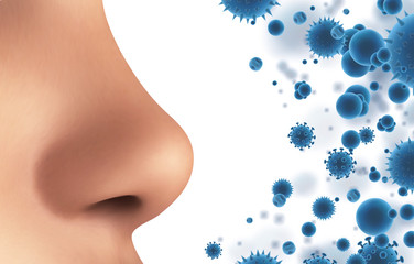 Obraz vector banner. nose and particles, bacteria, viruses. protection against allergies and diseases - fototapety do salonu