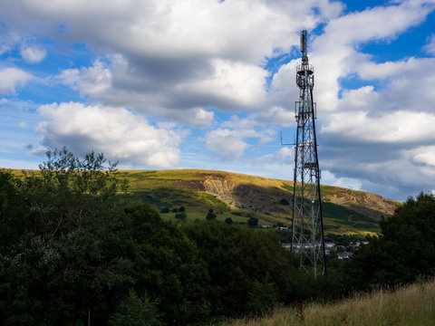 Telecommunications tower. Mobile phone and TV base station in a Small Welsh Town Blaina