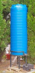 Blue plastic water storage tank