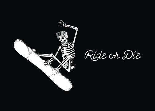 SKELETON SNOWBOARDER RIDE OR DIE BANNER BLACK BACKGROUND
