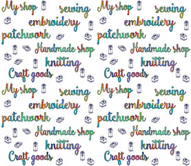 inscriptions in the boho style patchwork on a white background