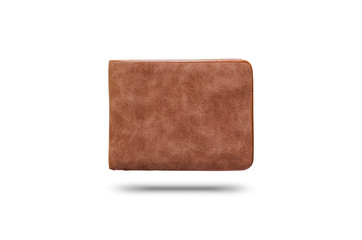 brown leather wallet on isolated white background with clipping path. wealth, saving, money, finance and investment concept.