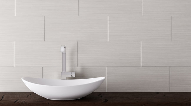 Close up of bathroom vanity basin on a wodden top vanity 3D-Illustration
