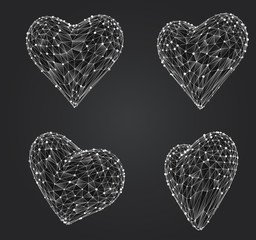 set of vector bulk hearts for medicine and holiday