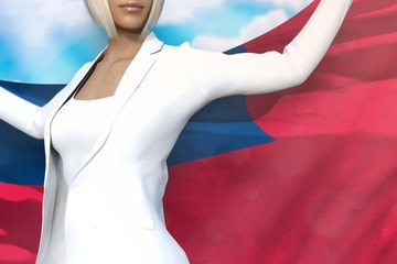 sexy business lady holds Samoa flag in hands behind her back on the blue sky background - flag concept 3d illustration