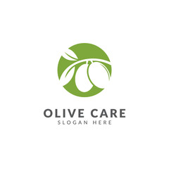 Olive oil logo or icon vector design template, healthy food, green color,