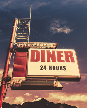Retro Vintage Motel Diner Sign