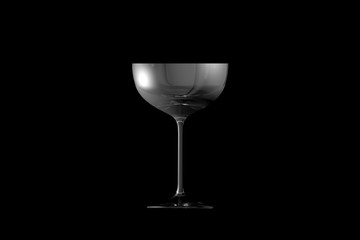3D illustration of coupe sparkling wine glass isolated on black side view - drinking glass render