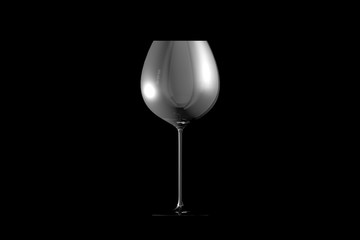 3D illustration of red wine glass isolated on black side view - drinking glass render