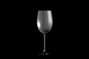 3D illustration of white wine glass isolated on black side view - drinking glass render