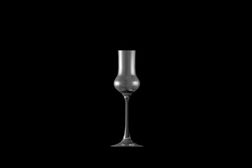 3D illustration of grappa glass isolated on black side view - drinking glass render