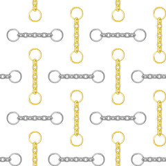 Seamless gold and silver color chain pattern on white background..