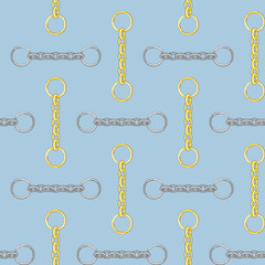 Seamless gold and silver color chain pattern on light blue background.