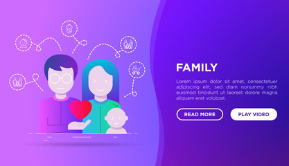 Happy young family concept: father, mother and baby. Web page template with gradient flat icons. Modern vector illustration for medical insurance or social issues.