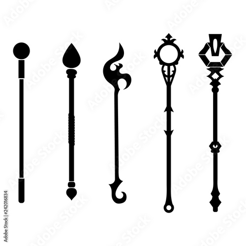 Set Of Staff Icons Isolated On White Background Magic Weapon