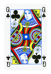 Queen of Clubs playing card - isolated on white (clipping path included)